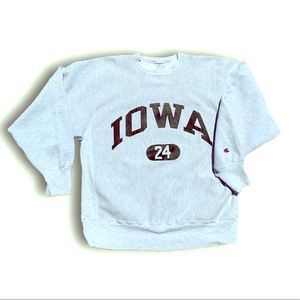 Vintage Iowa Reverse Weave sweater numbered 24